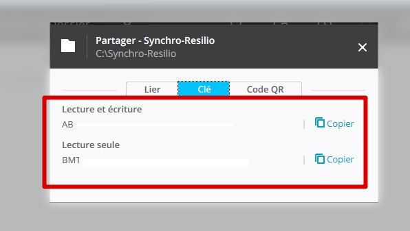 resilio synch onglet clé