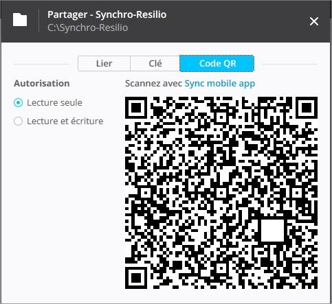 onglet QR code pour Resilio Sync