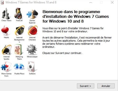 processus d'installation du pack de jeux Windows 7 sur Windows 10