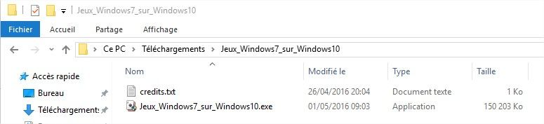 fichier pour installer le pack de jeu Windows 7 sur Windows 10