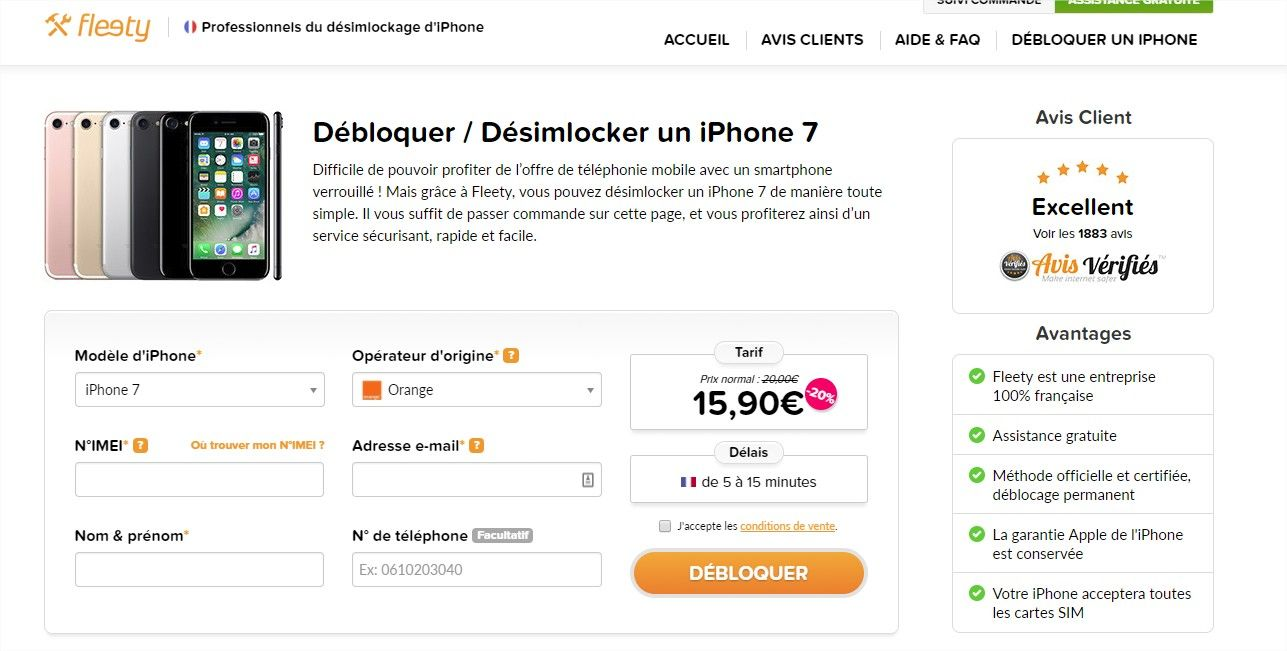 fleety desimlockage iphone payant