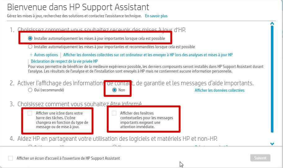 hp assistant configuration options