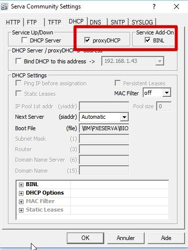 serva option dhcp