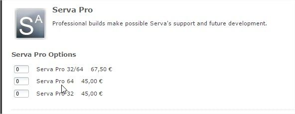 tarifs serva supporter version