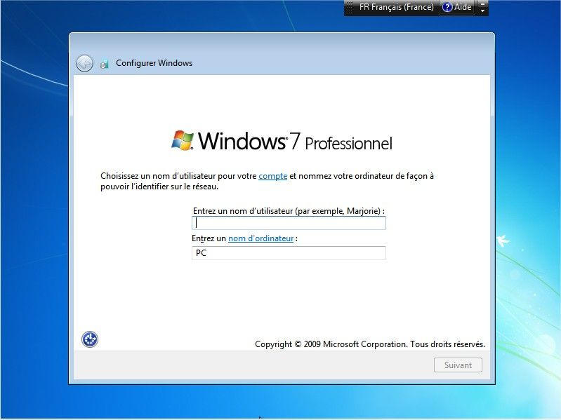 Windows 7 mode configuration profil par défaut