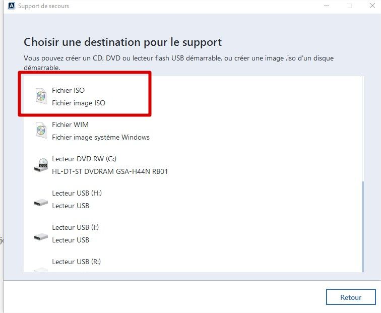 acronis support winpe choix iso
