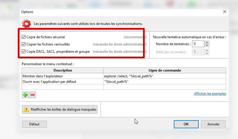 freefilesync option à cocher