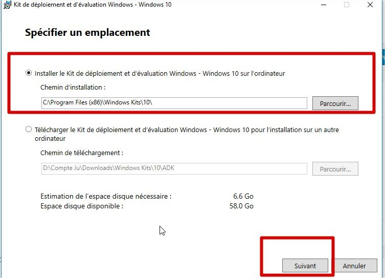 windows téléchargement du kit adk