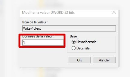 writeprotect valeur 1