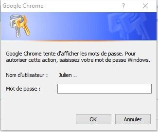 google chrome demande mot de passe session windows