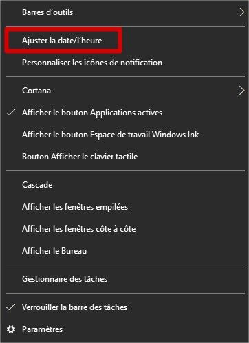 Windows 10 ajuster l'heure