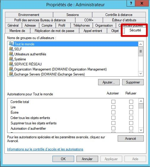 active directory onglet securité