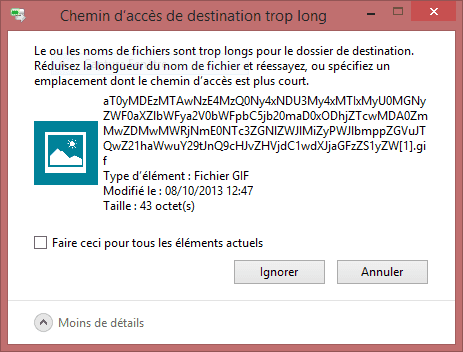 exemple d'une copie ou suppression d'un nom de fichier trop long pour windows