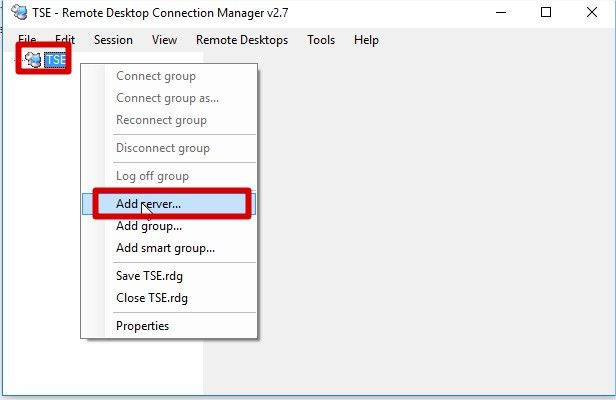 ajout d'un serveur TSE sur remote desktop connection manager