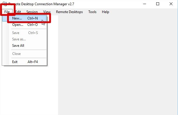 remote desktop connection manager création