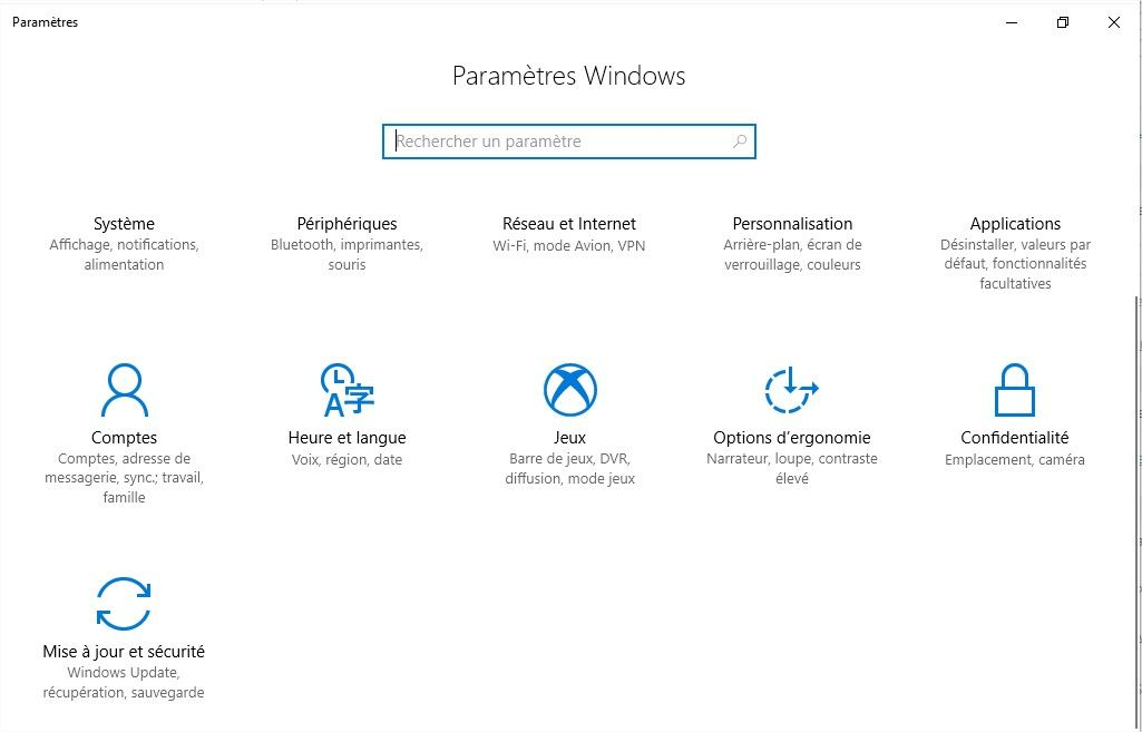 panneau de configuration windows 10 1703