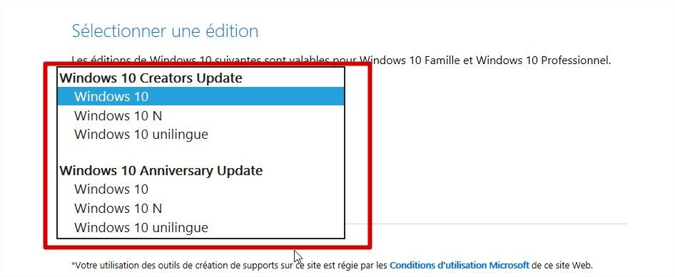 choix de l'édition windows 10 creators update