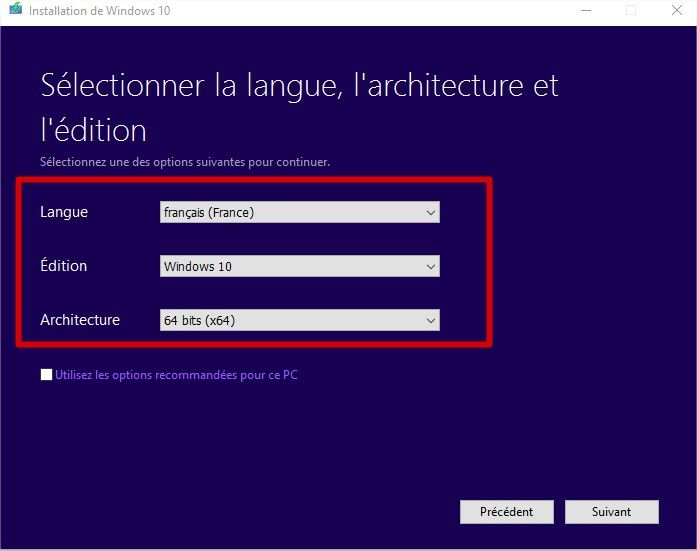 windows media creation tool choix windows