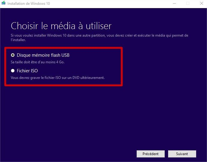 windows media creation tool usb ou iso