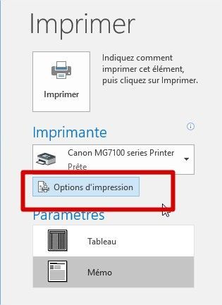 erreurs d'impression outlook pas d'options d'impression