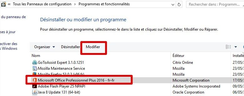 modifier office 2016 2013