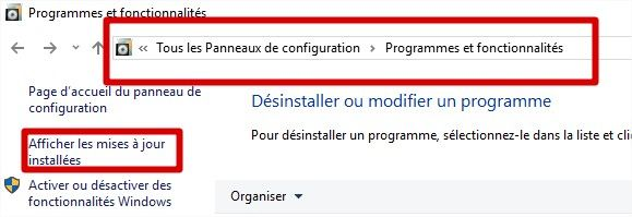 désinstallation d'une kb outlook