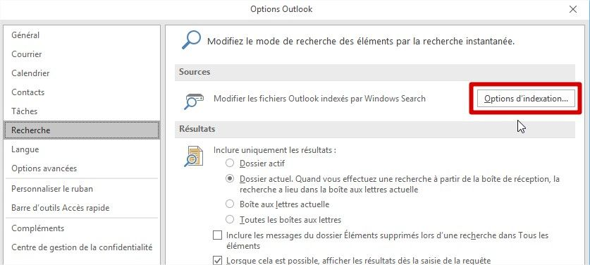 choix options d'indexation dans outlook