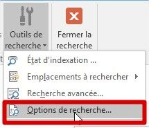 outlook options de recherche
