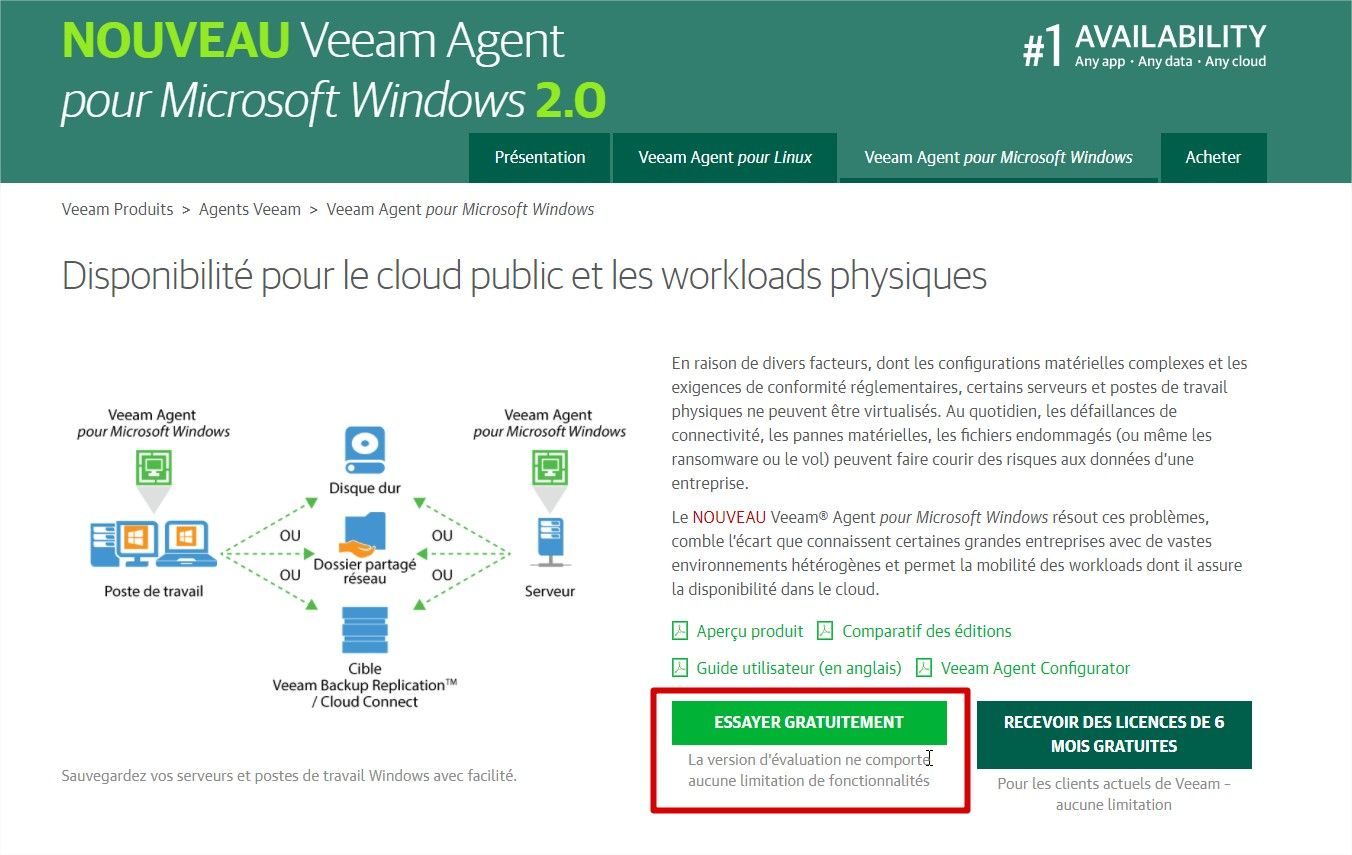 page pour telecharger veeam
