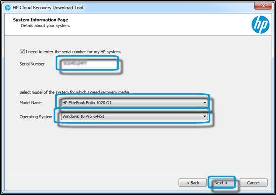 hp cloud recovery choix os
