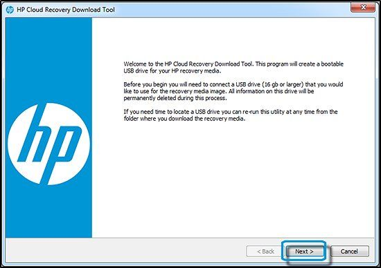 hp cloud recovery installation