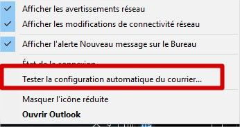outlook tester la configuration automatique