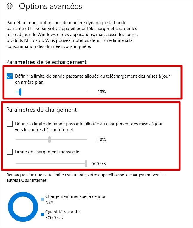 w10 options bande passante