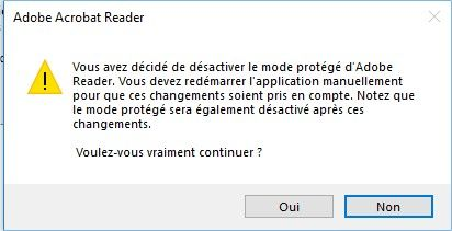 adobe reader dc message confirmation