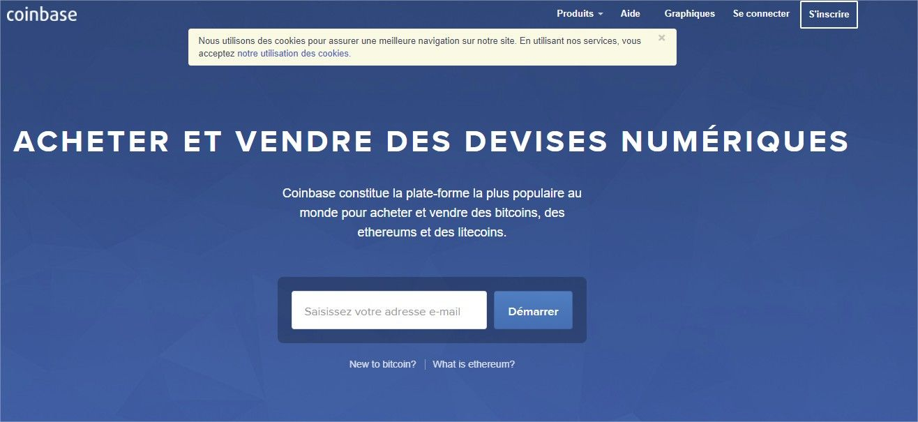 page d'accueil Coinbase