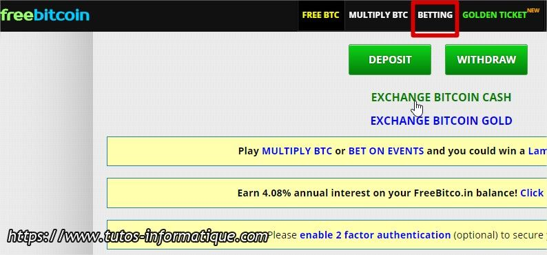 menu betting sur le site Freebitco.in