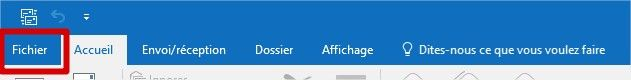 outlook menu fichier
