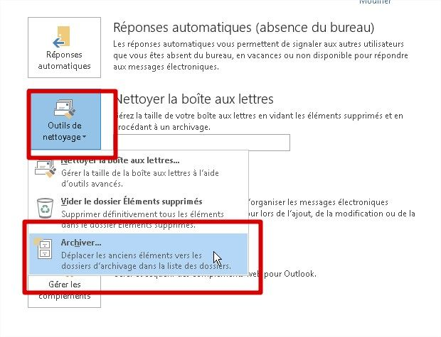outlook 2010 et 2013 menu archivage