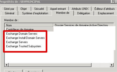 groupes exchange serveur active directory