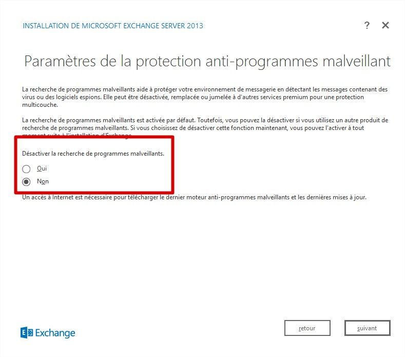 exchange 2016 malwares services