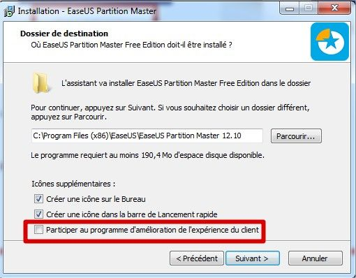 easeus partition master installation dossier