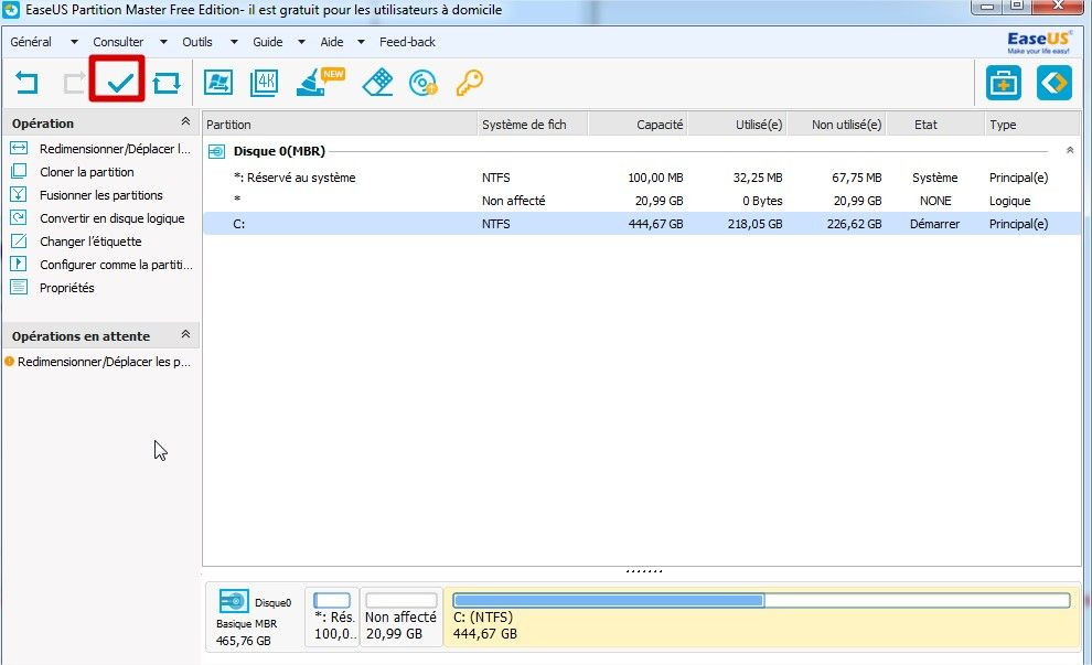 application modification partition avec easeus