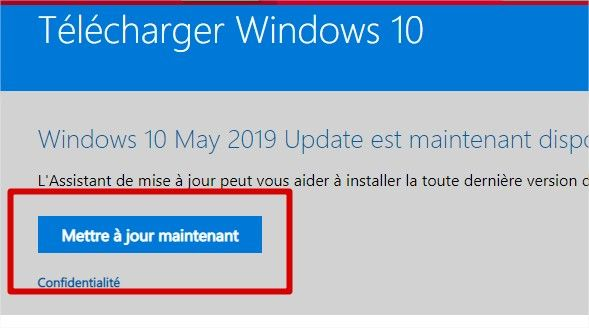 assistant de mise à niveau Windows 10