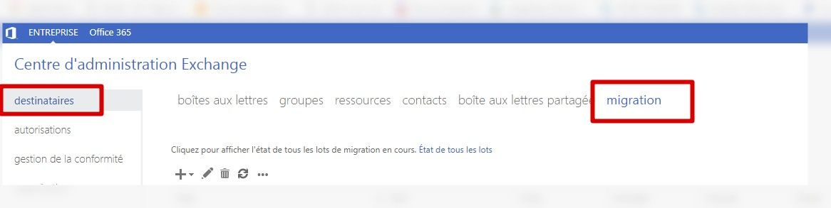 suivi de la migration depuis interface web exchange