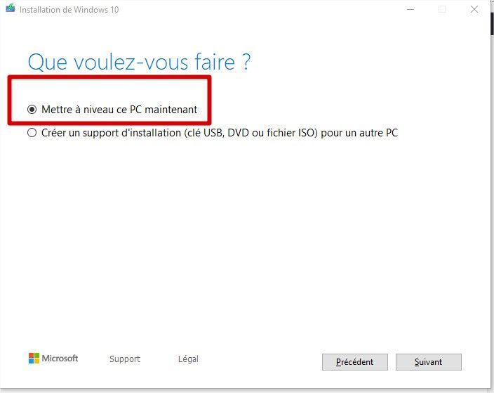 mise à niveau Windows 10