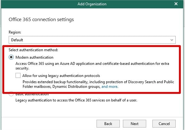 veeam authentification morderne