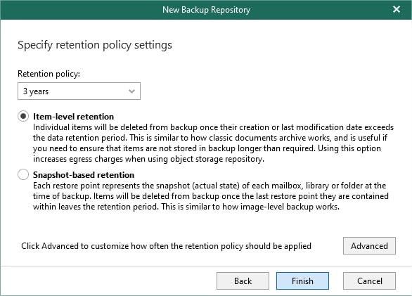 Veeam retention