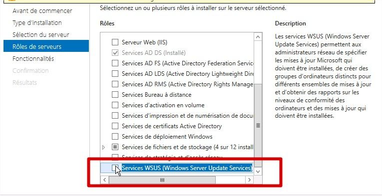 selection rôle wsus