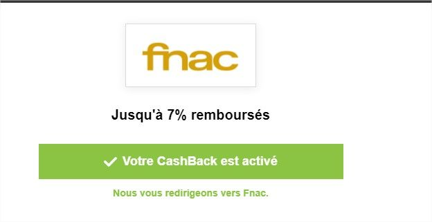 redirection pour activation cashback