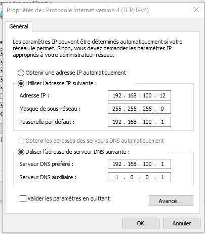 exemple ip openmptcp carte réseau Windows